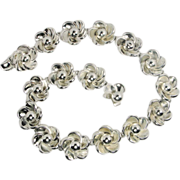 Vintage Boucher Parisina Mexico Sterling Silver Floral Choker Necklace