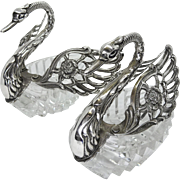 Exquisite Pair of Vintage 835 Silver Crystal Swan Salt Cellars, Signed ALBO