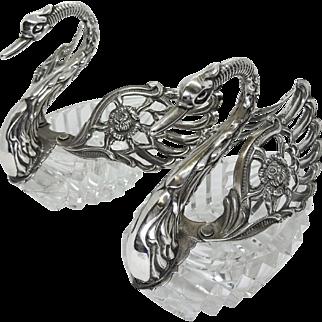 Exquisite Pair of Vintage 835 Silver Crystal Swan Salt Cellars, Signed ALBO