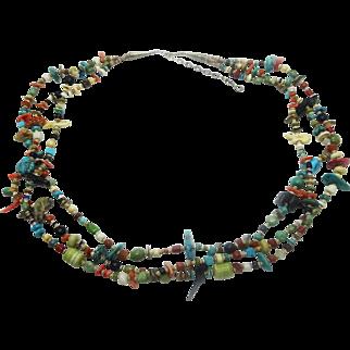 Southwest Gemstone & Heishi Shell Tri-Strand Bead & Fetish Necklace & Earrings