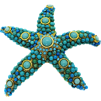 Jose & Maria Barrera Jeweled Starfish Brooch Pin, Gold Plated