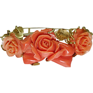 Vintage Carved Rose Salmon & Rosa Coral Bangle Bracelet
