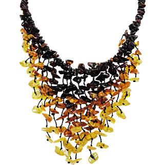 Vintage Baltic Amber Waterfall Necklace, Ombre Design, Individually Knotted