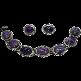 Vintage Mexico Sterling Amethyst Cannetille Filigree Bracelet & Earrings Set
