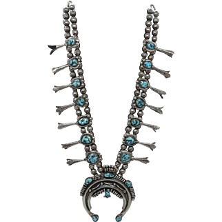 Vintage Navajo Sterling Silver and Spiderweb Turquoise Squash Blossom Necklace