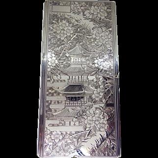 Vintage Ornate Pagoda & Cherry Blossom Sterling Silver Cigarette or Wallet Case