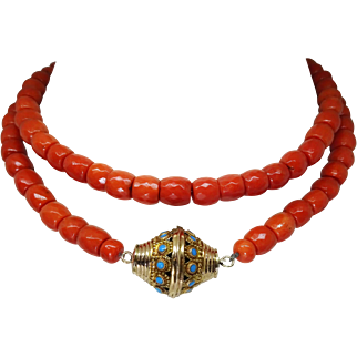 Vintage 16k Persain Turquoise  Rattle Clasp Genuine Oxblood Red Coral Necklace