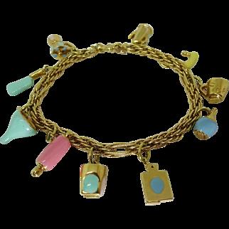 Vintage 18k Yellow Gold Pastel Enameled Culinary Theme Charm Bracelet