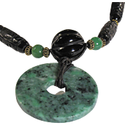 """IMPERIAL"" : Huge Carved Black Agate, Black Peking Glass and Carved Black Plum Chinese Bead Artisan Necklace"