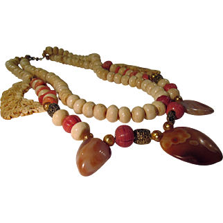 Coral Bone Agate Artisan Necklace