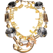 Panther Artisan Necklace, Crystals, Cultured Pearls