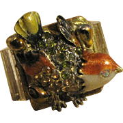 Midcentury Enamelled Bird Pin Artisan Ring