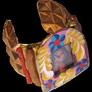 Praying Mary Artisan Mexican Folk Art Cuff Bracelet
