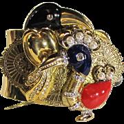 """Mid Century Enamelled Hattie Carnegie """"DoDo"""" Pin Artisan Cuff Bracelet"""