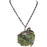 Beautiful Nest Artisan Pendant with Vintage Components