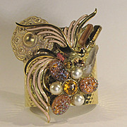 Trifari Phoenix Rising Pin Collage Artisan Cuff Bracelet