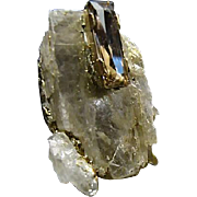 Raw Quartz Crystal Artisan Pendant with Light Topaz Colored Swarovski Crystal