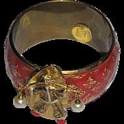 Damascene Water Bearer Artisan Enamelled Cuff Bracelet
