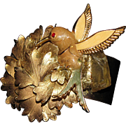 Mid Century Enamelled Hummingbird  Noir Artisan Cuff