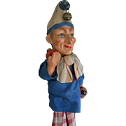 REDUCED **A funny Mr PUNCH /POLICINELLE Marotte with music box ! approx 1920