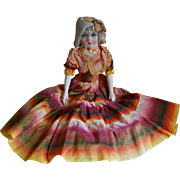 **Adorable sweet TYPE Lenci - face,  small boudoir/sofa doll, original silk clothes*****1930