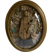 ******Beautiful French wax creche figure with child***in dome frame, approx 1900