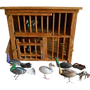 **very rare Chicken / Bird coop, with wonderful animals**approx 1900