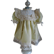 ***Beautiful soft yellow dress for your antique doll***