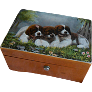 *****A lovely Thorens Swiss music box with a lovely image of ST. Bernhards pups****