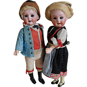 ***A cute couple of German cabinet size dolls, all original !***7,2 inches.