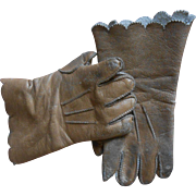 ****A pair of light brown leather antique doll gloves****