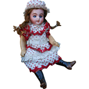 **Sweet German mignonette doll..original red and white clothes...*****
