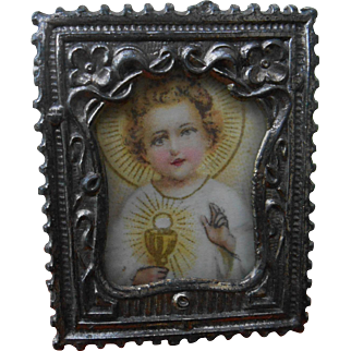 An French antique miniature silver metal picture frame 1,08 x 1,4 inches.
