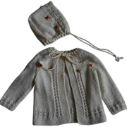 **Beautiful hand knitted cardigan and bonnet with little roses****