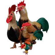 ***Four Steiff mohair rooster Chickens*** very good condition !!
