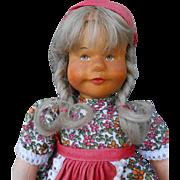 ***Vintage Hildegard Krahmer doll*****head made of wood.