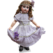 ***A wonderful Jumeau, no. 8..complete with a lilac antique dress****