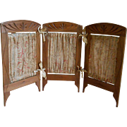 ***For your mignonette dolls an antique mahogany 3-part folding screen***