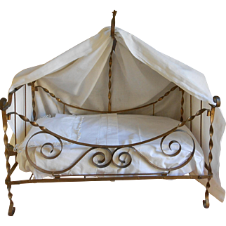 **Gorgeous antique French metal doll bed** approx 1900****