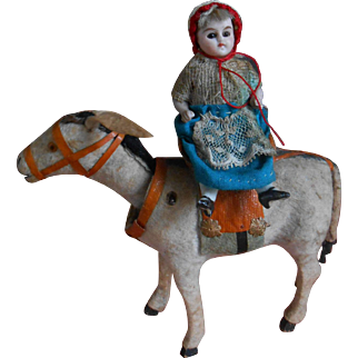 **Funny antique donkey with saddle chair and mignonette on his back !!!***
