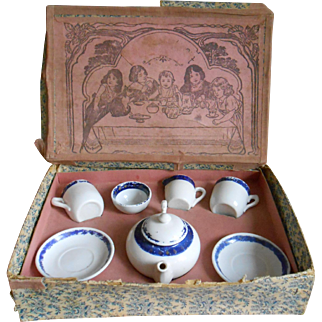 "**An antique ""tea for two""porcelain  tea set in original box, approx 1900"