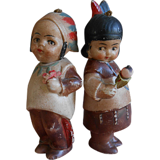 **Two all bisque miniature Indians...SO CUTE !**approx 1915-1920