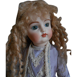 Cabinet size artist doll , all bisque, marked: ANP 1994 with lovely clothes !!! 10 inches.