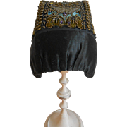 A stunning Folklore costume Hat, embroidered with many tiny beads, approx 1900.