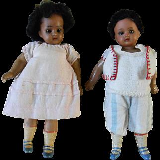 ***Two gorgeous 7,6 inches mulatto dolls Gebr. Kuhnlenz***