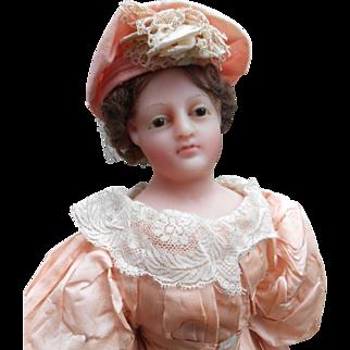 **Breathtaking WAX fashion lady doll  20 inches** approx 1890