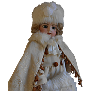 **Beautiful 4-piece winter outfit for your doll, partly made of antique fabrics****
