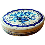 Tin Box With Onion Pattern Painted 1900