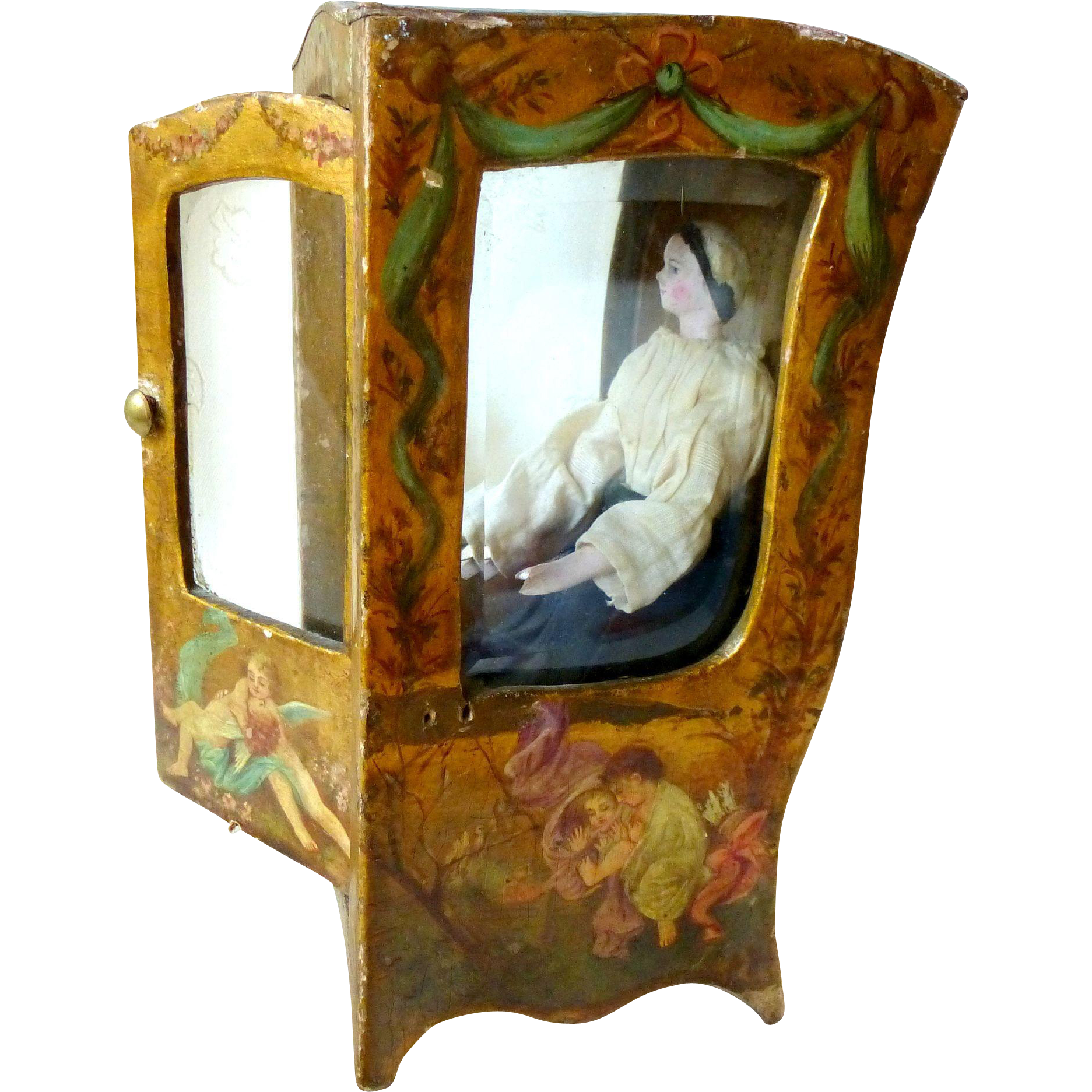 Rare 19c vernis martin style miniature sedan chair or for Chaise a porteur