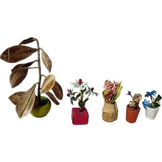 Five German flower pots for doll house